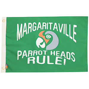 Green Parrot Head Novelty Flag