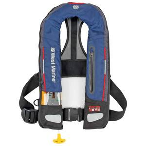 Deep Water Automatic Inflatable Life Jacket—Navy Blue/Dark Gray