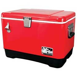 Red Stainless Steel Cooler, 54 Qt.