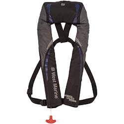 Inshore Automatic/Manual Inflatable Life Jacket, Blue/Gray