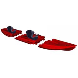Tequila! GTX Tandem Modular Sit-On-Top Kayak, Red