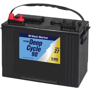Deep-Cycle Flooded Marine Battery, 90 Amp Hours, Group 27