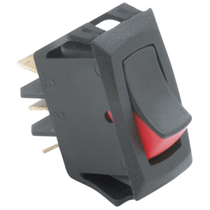Curved Two-Color Rocker Actuator Switch