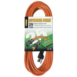Extension Cord, Gauge 16/3,  25', Orange