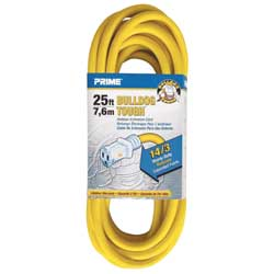 Extension Cord, Gauge 14/3,  25', Yellow