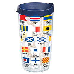 Nautical Flags Tumbler with Lid, 16 oz.