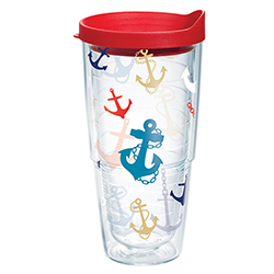 Anchor Print Tumbler with Lid, 24 oz.