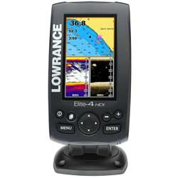 Elite-4 HDI Gold Fishfinder/Chartplotter Combo with 50/200 455/800kHz Transducer
