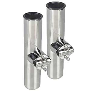 Stainless Steel Clamp-On Rod Holders, Two Pack