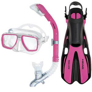 Tarpon/Barracuda/Volo One Snorkel Set, Pink, Small