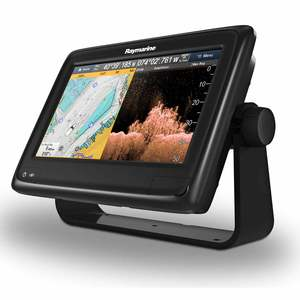 a98 Multi-Function Touchscreen Display with Built-in CHIRP Sonar and CHIRP Downvision™, Wi-Fi and US C-MAP Essentials Charts, CPT-100 Transom Mount Transducer