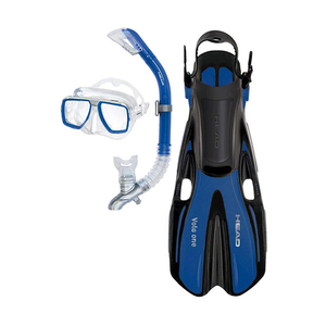 Tarpon 2/ Barracuda Dry/ Volo One Adult Snorkel Set, L/XL, Blue
