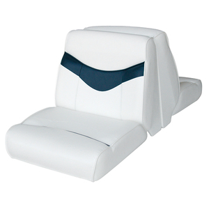 Bayliner Lounge Seat Top, White/Blue