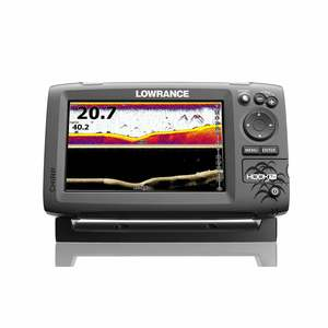 Hook-7x Fishfinder with Mid/High (83/200kHz) CHIRP and DownScan™ (455/800kHz) Imaging.
