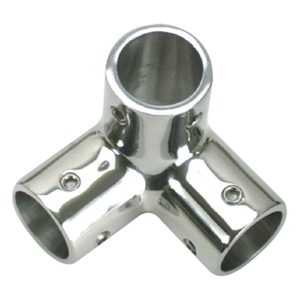 "Stainless Steel 3-Way Corner Fitting, 7/8"" Tube Outside Dia."
