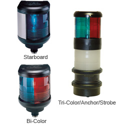 Aqua Signal Tri-Color, Anchor, Strobe Light, 8-3/4H x 3-1/2dia.