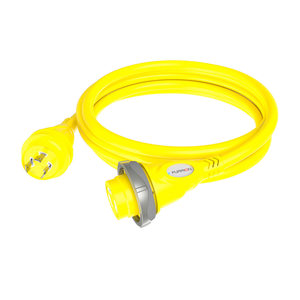 30A Yellow Marine Cordset with LED, 12'