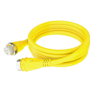 50A Yellow 125V Marine Cordset with LED, 50'
