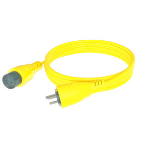 15A Yellow Marinized Extension Cord with LED, 50'