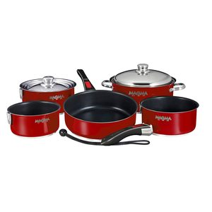 Professional Series Gourmet Nesting 10-Piece Magma Red Stainless Steel Induction Cookware Set with Ceramica® Non-Stick
