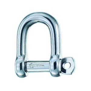 "Self-Locking Pin ""D"" Shackle, 3/16"" Pin Dia., 13/32"" Inside Width, 5/8"" Inside Length, 2200lb. Breaking Load"