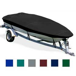 "V-Hull Fishing Boat Cover, OB, Black, Hot Shot, 15'10-6'10"", 82"" Beam"