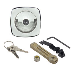 Flush Lock - White/Stainless Steel with Straight Cam Bar