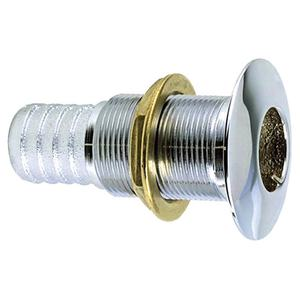 Chrome-plated Bronze Thru-Hull Connection for use with Hose