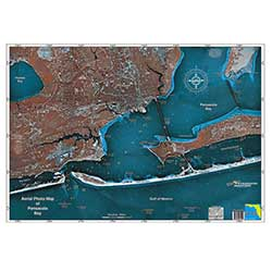 Pensacola Bay, Florida Laminated Map
