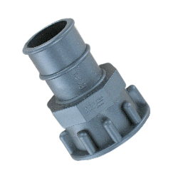 "Plastic Female NPT-to-Hose Barb Adapter, From 1-1/2"" to 1-1/8"""