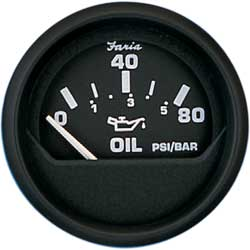 "Euro Oil Pressure Gauge, 2"", 0–80 psi"
