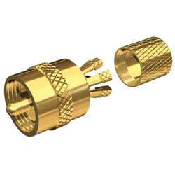 PL-259 Gold-Plated Center-Pin Connector, RG-8X or RG-58/AU Coax