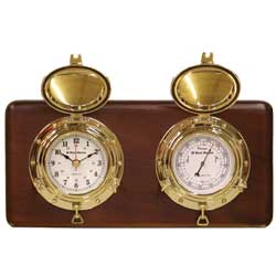 Porthole Clock & Barometer with Plaque