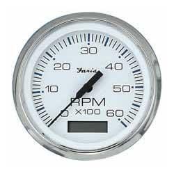 Faria Instruments Tachometer/Hourmeter Chesapeake White SS, 4 6000 Gas Inboard