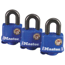 3-Pack Keyed Alike Laminated Steel Padlocks w/Molded Covers