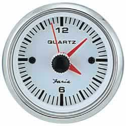 Faria Instruments Clock, Chesapeake White SS, 2, Quartz Analog, 30#