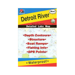 Fishing Hot Spots Detroit River, MI, Fishing Chart