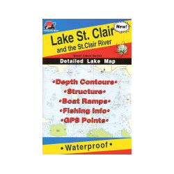 Fishing Hot Spots Lake St. Clair & St. Clair River, MI/ONT, Fishing Chart