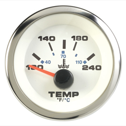Premium White Water Temperature Gauge, Inboard or Sterndrive, 120°-240°F