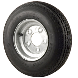 Trailer Tires & Wheels - Galvanized Solid, 8 x 3.75 Rim, 5 x 4.5 Bolt, 480 x 8B, Bias, 590 Capacity
