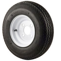 Trailer Tires & Wheels - White Solid, 570 x 8B Bias, 4 Ply, 4 Bolt