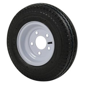 Trailer Tires & Wheels - White Solid, 8 x 3.75 Rim, 5 x 4.5 Bolt, 480 x 8B, Bias, 590 Capacity