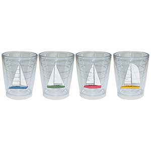Newport Tumbler Four-Pack, Sailboat Motif, 12oz.