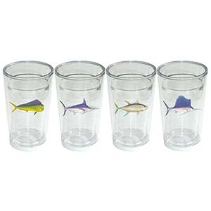 Newport Tumbler Four-Pack, Game Fish Motif, 16oz.