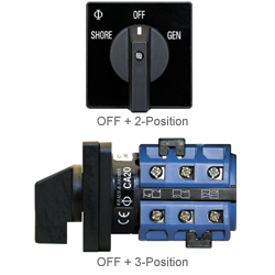 Blue Sea Systems OFF + 2 Positions, 63A Amps, 3 Poles, 240V AC, 3.6 x 2.52 x 2.52