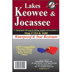 Kingfisher Maps Lakes Keowee & Jocassee Waterproof Map