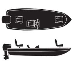 V-Hull Fishing Boats with Single Consoles, Outboard Road Ready Cotton Covers
