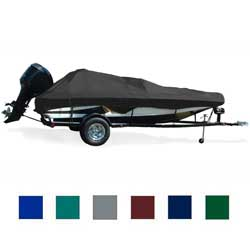"Angled Transom Bass Boat Cover, OB, Navy Blue, Hot Shot, 14'5""-15'4"", 91"" Beam"