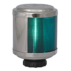 Aqua Signal 50-Series Starboard Navigation Light, 12V/25W, 2nm Visibility, Side Mount, Stainless Steel Housing