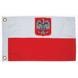 "Poland Courtesy Flag with Eagle, 12"" x 18"""